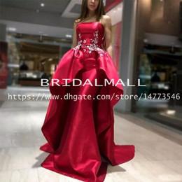 $enCountryForm.capitalKeyWord Australia - Rose Red Satin Mermaid Prom Dresses 2019 Strapless White Appliqued Long Formal Evening Dress Overskirts Custom Party Gowns vestido de fiesta