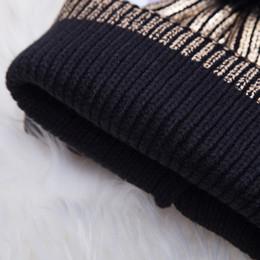 Black girl gold hair online shopping - Hair Ball Women Hats Cute Pompom Metallic Shiny Crochet Beanie Autumn Winter Windproof Girl Cap Warm Knitted Solid Soft