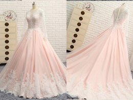 Lavender Blush Wedding Dress NZ - Elegant Blush Pink White Lace Wedding Dresses Bridal Gowns V neck Long Sleeves Applique Hollow Back Princess Designer Wedding Gowns Cheap