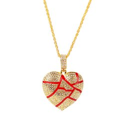 love hip hop jewelry Australia - Broken Heart Necklaces Iced Out Pendant Hip Hop Jewelry Women Fashion Bling Necklace Crystal Rhinestone Love Charm Gold Silver Chain for Men