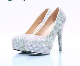 Platforms Shoes For Women Australia - Silver Ab Colorful Crystal Wedding Shoes Round Toe Super High Heel Large Size Women Pumps with Platform for Party Banquet