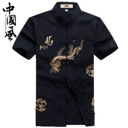 traditional chinese tang suits NZ - raditional Chinese Clothing Tops chinese traditional men clothing tang suit shirt male oriental mens tops blue mandarin collar cotton tan...