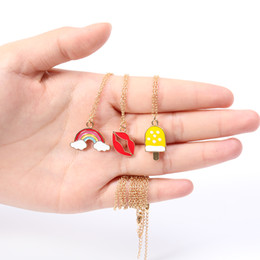 wholesale ice cream jewelry Australia - 30PCS Cartoon Enamel Ice Cream Popsicle Necklace Colorful Rainbow Bridge Cloud Necklace Red Color Lip Chain Necklaces for Women jewelry