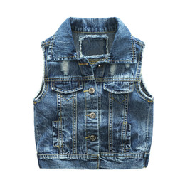 Children hole jeans online shopping - New children Boy Denim Vest Spring Autumn Broken Hole Style Kids Waistcoat Clothes Bebe Jeans Jacket For T Outerwear