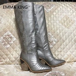 9c365e2014f0 2019 Runway New Snake Prints Leather Women Knee High Boots Pointed Toe Sexy  High Heel Ladies Winter Wedges Shoes Woman Long Boot