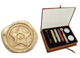$enCountryForm.capitalKeyWord Australia - Vintage Skull Star Wax Seal Sealing Stamp Set Gift Box Wedding Invitation