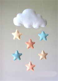 hanging baby toy wind chime Canada - Kids Felt Cloud Star Hanging Toys Baby Rattles Mobile Toys Felt Wind Chime Bell Hanging for Crib Tent Ornament Room Decor T200429
