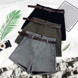 $enCountryForm.capitalKeyWord Australia - Autumn Winter Formal Shorts Women Korean High Waist Thick With Sashes Wide Leg Shorts Female Gray Black Green Casual Bottom