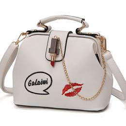 Lipsticks Day Australia - Women Handbag Leather Women Shoulder Bag Small Doctor Crossbody Handbag Embroideried Lipstick Chain Designer Casual Women Bags