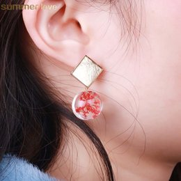 Wholesale New Arrival Dried Flowers Earrings Creative Plant Clover Glass Ball Dangle Earring For Women Girls Jewelry Gift