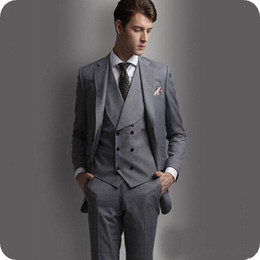 $enCountryForm.capitalKeyWord Canada - Latest Coat Pant Designs Grey Men Suits for Wedding Groomsmen Groom Tuxedo Double Breasted Vest Best Man Blazer Jacket 3Piece Costume Homme