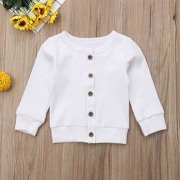 woolen knitted clothes NZ - Newborn Baby Knit Sweater Tops Infant Girl Boys Autumn Winter Clothes Long Sleeve Button Coat Thin Section 0-24M Hot Sell