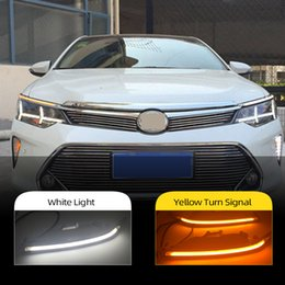toyota camry lights Australia - 2PCS Car Headlight Decoration Yellow Turn Signal 12V DRL LED Daytime Running Light For Toyota Camry 2015 2016 2017 2018