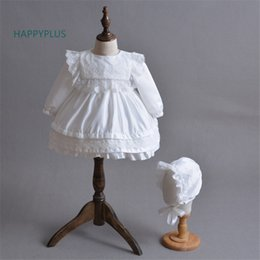 Wholesale Happyplus Long Sleeve Christening Dresses For Girls White Beige Princesses Party Dress Baby Baptism Gown For Bridesmaid Infant Y19061101