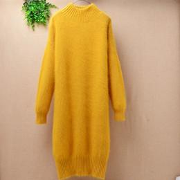$enCountryForm.capitalKeyWord Australia - Ladies women bright color long turtleneck angora rabbit fur knitted slim o-neck mink cashmere long sleeve pullover sweater dress