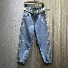 Discount jeans women colorful - Colorful Rhinestone Denim Pants Women's 2020 Spring New High-Waist Loose-Fit Straight-Cut Harem Dad Pants jeans wom