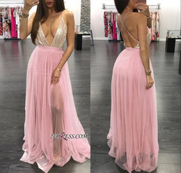 hot sexy girls red dress Australia - 2019 Sexy Deep V Neck Prom Dress Hot Black Girl Sequibed Spaghetti Oped Back A-line Evening Dresses Formal Party Bridesmaid Gown