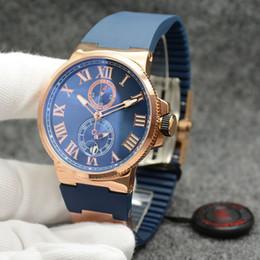 2a9f00c6f02 Marca de luxo Maxi Marinha Cronômetro Executivo Dual Time UN-26 Quartz  Siliver Caso Azul Pulseira De Borracha Homens Relógio De Pulso Dos Homens  Relógios