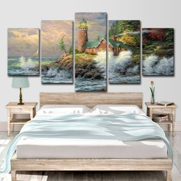 $enCountryForm.capitalKeyWord NZ - Canvas Paintings Wall Art HD Prints Scenery Pictures 5 Pieces Fairy Tale Small Town Lighthouse Posters Home Decor