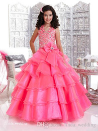 Cupcakes Pink Australia - Pink Girl's Pageant Dress Princess Halter Neckline With Bow Party Cupcake Prom Dress For Short Girl Pretty Dress For Little Kid
