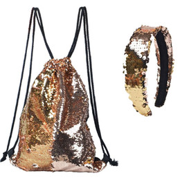 $enCountryForm.capitalKeyWord UK - Reversible Sequin Drawstring Bag Cinch Sack Backpack Purses Rucksack + Headwear Set for Kids Girls