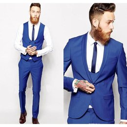 Dark Blue Suits Australia - Crazy2019 Custom Made Royal Blue Men Suit Men Classic Groom Tuxedos Blazer Prom Mens Suits Bridegroom (Jacket+Pant+Vest+Tie)