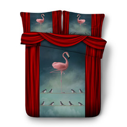 $enCountryForm.capitalKeyWord Australia - Pink Flamingo Birds Duvet Cover Set Comforter Cover Bedding Set With 2 Pillow Shams Ultra Soft Cotton Polyester With Zipper Closure