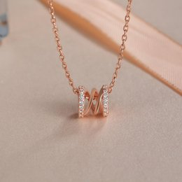 small pendants NZ - Luxury Rose Gold Necklace with Rhinestone Decorated Sterling Silver Pendant for Women Gift Classic Simple Small Waist Clavicle Chain