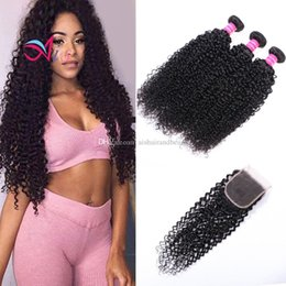 1b Hair Color Weaves Australia - Ais Peruvian Virgin Raw Human Hair Weaves Extensions Curly Natual 1B Color 3 Bundles With Closure 4*4 Unprocessed High Quality
