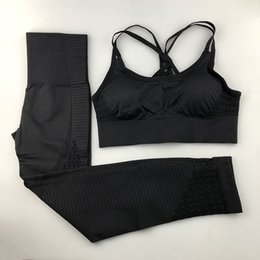 women s yoga clothes Australia - To Quality Seamless Yoga Set Women Fitness Clothing Sportswear Woman Gym Leggings Padded Push-up Strappy Sports Bra 2 Pcs Sports Suits S-L