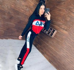 Wholesale strip clothing for sale – plus size Brand Designer Women Hooded Tracksuit Letter Printed Stripped Outfit Hoodies Leggings Pants set Running Sportswear Clothes Suit
