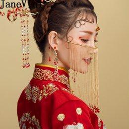 JaneVini 2019 Chinês Véu Da Cara Do Casamento Da Noiva Frisada Borla Veiling Estilo Oriental Nupcial Cabeça Jóias Pageant Acessórios Para o Cabelo venda por atacado