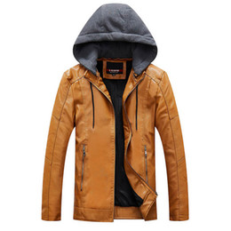 Wholesale mens yellow leather jacket resale online - Hooded Leather Jacket Men Yellow Blue Black Leather Moto Jacket Mens Motorcycle Fleece Mens Autumn Winter Fashion