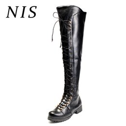 bondage heels NZ - NIS Women Knight Knee Over High Boots Women Motorcycle Boots Side Zipper Bondage Ladies Shoes Woman Chunky Block Heel Long Boot