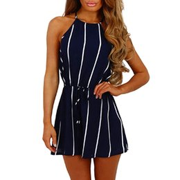 women jumpsuit black blue UK - 2019 Casual Playsuit Rompers Women Stripe Printing Off Shoulder Sleeveless Rompers Jumpsuit Playsuit Women Jumpsuit Sexy Costume Y19051601