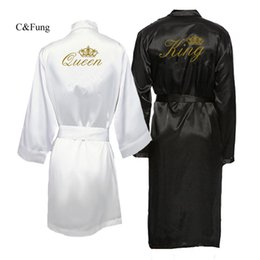 Pajamas for couPles online shopping - C Fung new arrival King and Queen Bath Robes Couple kimono pajamas Mr Mrs Robes Honeymoon wedding Gift for bride