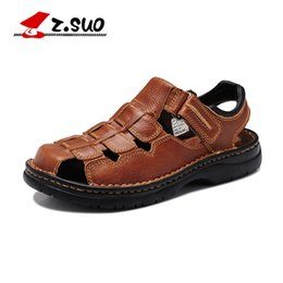 85c3c1c425348 Z.SUO Brand 802 Men s Genuine Leather Beach Shoes Classic Toe Cap Cover  Handmade Cow Leather Mens Sandals WIDE Plus Size 39-48  56956