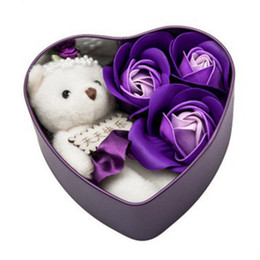 heart shaped plush NZ - Heart-Shaped Rose Soap Flower with Plush Animal Toys Bear Doll Romantic Wedding Party Flower Petals Decor Party Toys with Box