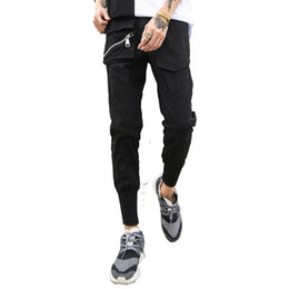 China Dark men's trousers zipper yarn card bundle foot pants sports pants pocket Korean version of the trend nine tight feet supplier korean tight pants suppliers