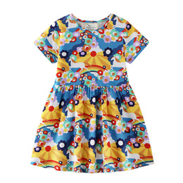 $enCountryForm.capitalKeyWord UK - Retail girls dress baby girl floral cartoon print short sleeve cotton dresses kids pleated skirts casual skirt children boutique clothing