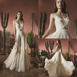 bead flowing wedding dress UK - 2020 Flowing Chiffon Boho Wedding Dress A Line Backless Straps Beads Beach Bridal Gowns Floor Length Bohemia Wedding Dresses Custom Made