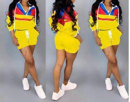 $enCountryForm.capitalKeyWord Australia - Stitching women's clothes Long sleeves Hooded cap Sleeve head Jacket shorts 2 piece designer tracksuits sportswear women clothes