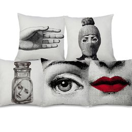 China Fornasetti Portrait Cushion Cover Beauty Face Sexy Lip Beige Linen Pillow Cover 45X45cm Sofa Chair Decoration suppliers
