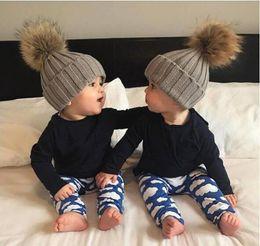 Hair Color Edges Australia - European New Pattern Imitate Raccoon Hair Bulb Thread Volume Edge Solid Color Wool Hats Baby Autumn And Winter Keep Warm Knitting Hat