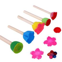 $enCountryForm.capitalKeyWord Australia - 5pcs   Lot Mix Wholesale Children Wooden DIY Painting Sponge Brush Toy Handle Baby Educational Doodle Drawing Graffiti Tools