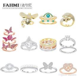 Großhandel FAHMI SWA Elegante einfache Teufelsauge Fox Butterfly Bees Love Fließende Ringe Rose Gold Für Valentinstag Geschenk Original