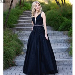 $enCountryForm.capitalKeyWord Australia - Baijinbai Floral Embroidered Lace Prom Dresses Sheer Mesh V Neck Evening Gowns for Party Formal A Line Long Dress With Belt