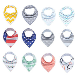 Dotted Cotton Scarves Australia - INS Baby Arrow usa flag Dot Floral Bibs Infant Triangle Scarf Toddlers Cotton Bandana Burp Cloths multiple styles