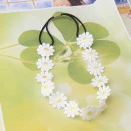 head chain headband Australia - New Fashion Flower Headband Girls Elastic Hair Band Women Hair Accessories White Daisy Rims Headwear Chain Floral Hair Head Band