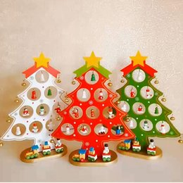 cartoon wooden table NZ - Creative DIY Wooden Christmas Tree Decoration Set Hollow Festival Ornament Xmas Tree Table Desk Home Party Children Gift Colorful